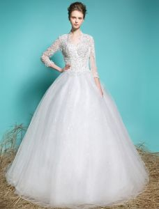 Elegante Brudekjoler 2016 Ball Kjole V-hals Applique Blonder Beading Paljetter 3/4 Ermer Brudekjole