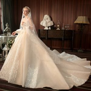 Best Champagne Wedding Dresses 2019 A-Line / Princess Sweetheart Sleeveless Backless Glitter Tulle Appliques Lace Beading Cathedral Train Ruffle