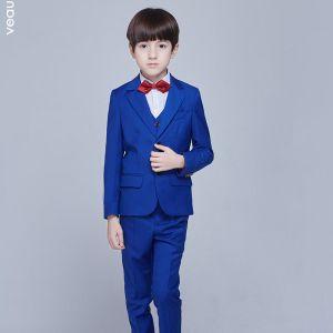 Eenvoudige Koninklijk Blauw Lange Mouwen Boys Wedding Suits 2017