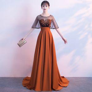 Klassisch Elegante Orange Abendkleider 2017 A Linie U-Ausschnitt Rückenfreies Perlenstickerei Chiffon Abend Festliche Kleider