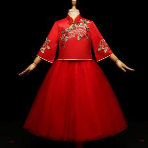 Mooie / Prachtige Rode Chinese Stijl 2 Stuk Bloemenmeisjes Jurken 2017 Baljurk Geborduurde Strik Hoge Kraag Mouwloos Lange Jurken Voor Bruiloft