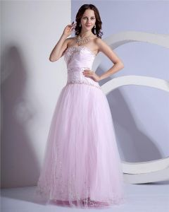 Ball Gown A Line Princess Strapless Floor Length Tulle Prom Quinceanera Prom Dress