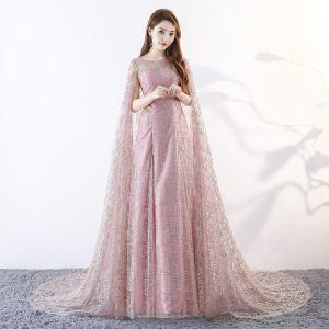 Unique Rosa Lange Abendkleider 2018 A Linie Mit Umhang U-Ausschnitt Tülle Perlenstickerei Pailletten Abend Festliche Kleider