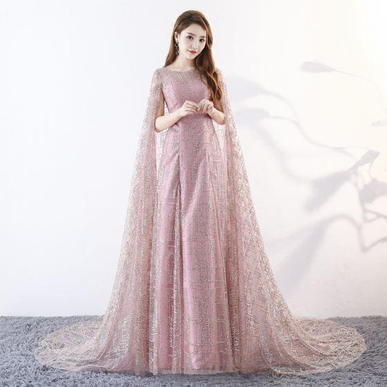 Rosa Abendkleider Umhang Pailletten Mit U Perlenstickerei Linie Unique Ausschnitt Kleider 2018 Abend Festliche Lange A Tülle fgby76