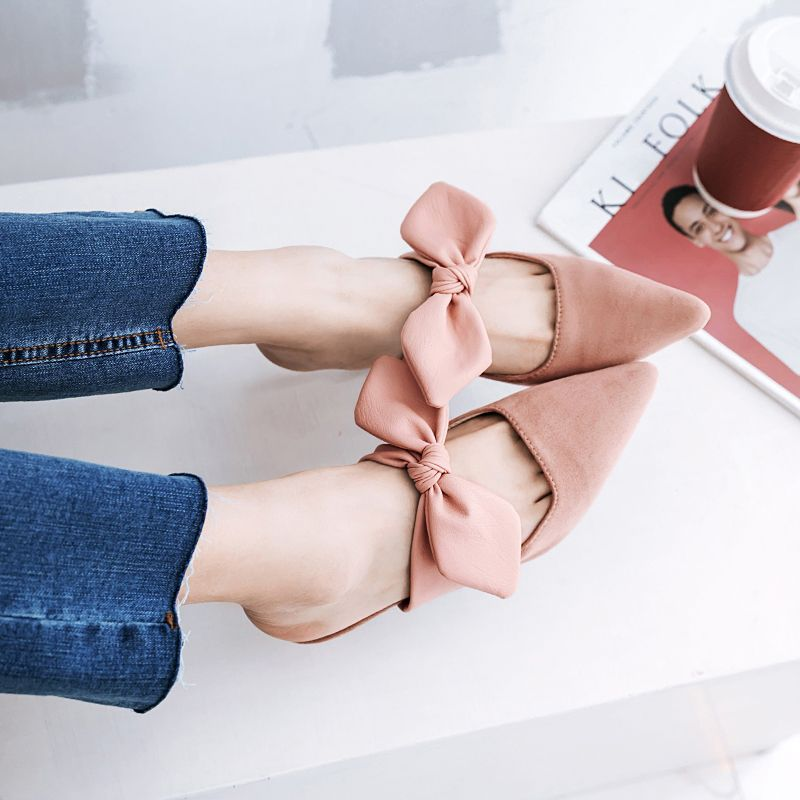 Chic / Beautiful Outdoor / Garden Womens Shoes 2017 PU Bow Mid Heel Pointed Toe Sandals