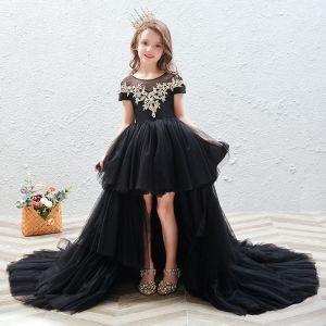 Chic / Beautiful Black See-through Birthday Flower Girl Dresses 2020 Ball Gown Scoop Neck Short Sleeve Gold Appliques Lace Court Train Cascading Ruffles