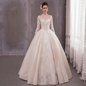 Luxury / Gorgeous Champagne Wedding Dresses 2020 A-Line / Princess V-Neck 3/4 Sleeve Backless Glitter Tulle Beading Appliques Lace Floor-Length / Long Ruffle