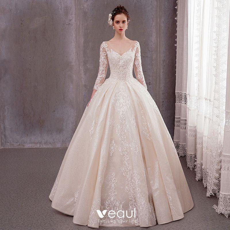 Luxury Gorgeous Champagne Wedding Dresses 2020 A Line Princess V Neck 3 4 Sleeve Backless Glitter