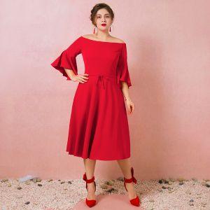 Simple Rouge Grande Taille Robe De Soirée 2018 Princesse 3/4 Manches Fermeture éclair Fermeture éclair Charmeuse Bustier Printemps Soirée Robe De Ceremonie