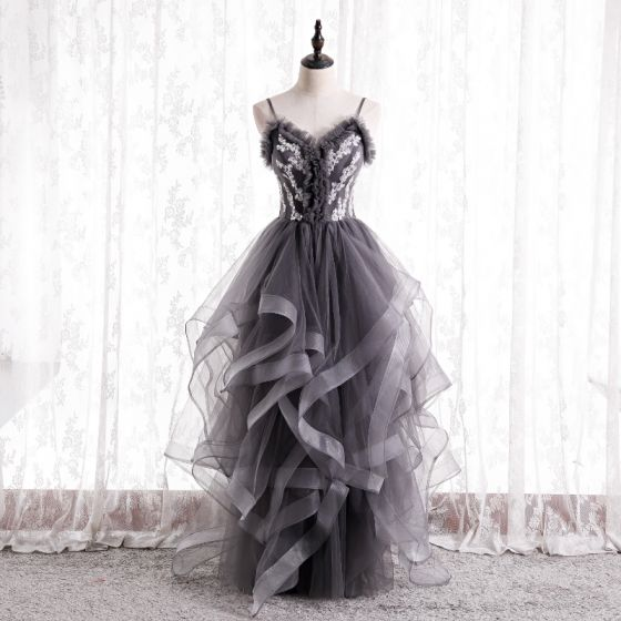 Mode Gris Volants Robe De Bal 2021 Princesse Bretelles Spaghetti Perlage Paillettes Sans Manches Dos Nu Longue Promo Robe De Ceremonie