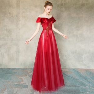 Chic / Beautiful Red See-through Evening Dresses  2020 A-Line / Princess Scoop Neck Short Sleeve Beading Floor-Length / Long Ruffle Backless Formal Dresses