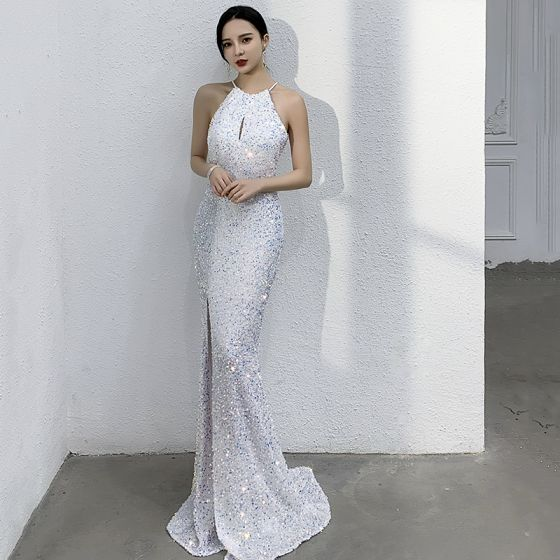 Sparkly Ivory Sequins Evening Dresses  2021 Trumpet / Mermaid Scoop Neck Sleeveless Sweep Train Evening Party Formal Dresses