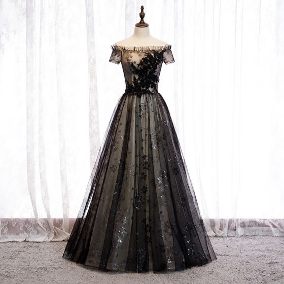 Eleganta Svarta Aftonklänningar 2020 Prinsessa Av Axeln Beading Kristall Paljetter Spets Blomma Korta ärm Halterneck Långa Formella Klänningar