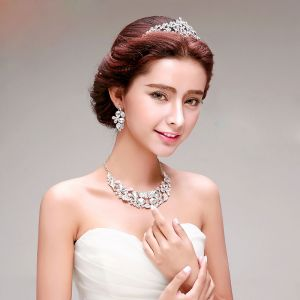 Wedding Dress Accessories Bridal Jewelry Necklace Earrings Crown Three-piece