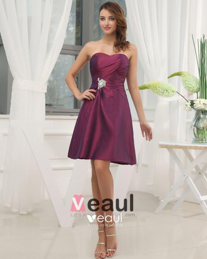 Taffeta Ruffle Beading Sweetheart Knee Length Bridesmaid Dress