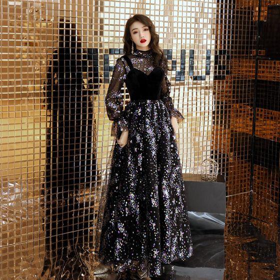 Bling Bling Black See-through Evening Dresses  2019 A-Line / Princess High Neck Puffy Long Sleeve Glitter Sequins Floor-Length / Long Ruffle Formal Dresses