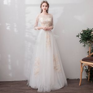 Chic / Beautiful White Evening Dresses  2019 A-Line / Princess U-Neck Lace Tulle Appliques Backless Embroidered Beach Church Formal Dresses