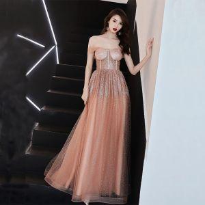 Sexy Naranja Vestidos de gala 2019 A-Line / Princess Fuera Del Hombro Manga Corta Glitter Tul Largos Ruffle Sin Espalda Vestidos Formales