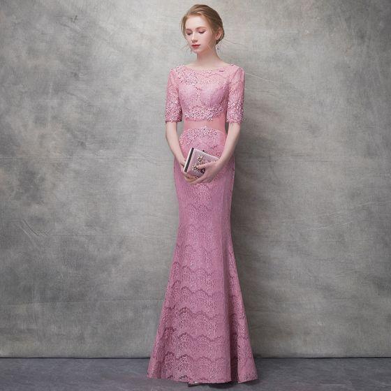 Piękne Cukierki Różowy Sukienki Wieczorowe 2017 Syrena / Rozkloszowane Z Koronki Cekiny Przebili Wycięciem 1/2 Rękawy Długość Kostki Sukienki Wizytowe