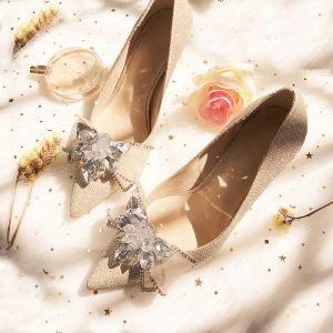 Charming Champagne Wedding Bridesmaid Pumps 2019 Rhinestone Bow Sequins 8 cm Stiletto Heels Pointed Toe Wedding Shoes