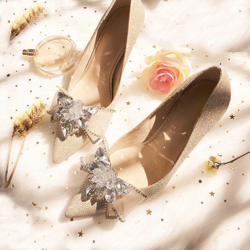Charming Champagne Wedding Bridesmaid Pumps 2019 Rhinestone Bow Sequins 8 cm Stiletto Heels Pointed Toe Wedding Shoes