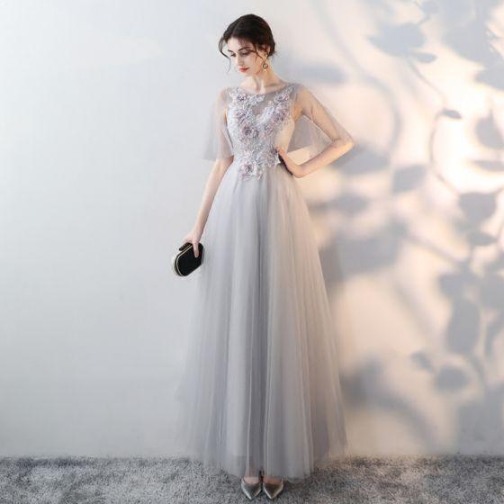 538ed9dad9 Eleganckie Szary Sukienki Wieczorowe 2018 Imperium Wycięciem 1 2 Rękawy  Przezroczyste Aplikacje Kwiat Rhinestone Długie Wzburzyć Sukienki Wizytowe