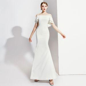 Eleganckie Kość Słoniowa Sukienki Wieczorowe 2020 Syrena / Rozkloszowane Spaghetti Pasy Kótkie Rękawy Bez Pleców Długie Sukienki Wizytowe