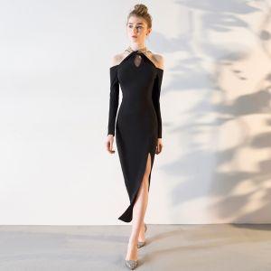 Eenvoudige Sexy Zwarte Avondjurken 2018 Trompet / Zeemeermin Tea-length Charmeuse Houder Ruglooze Kralen Pailletten Gelegenheid Jurken