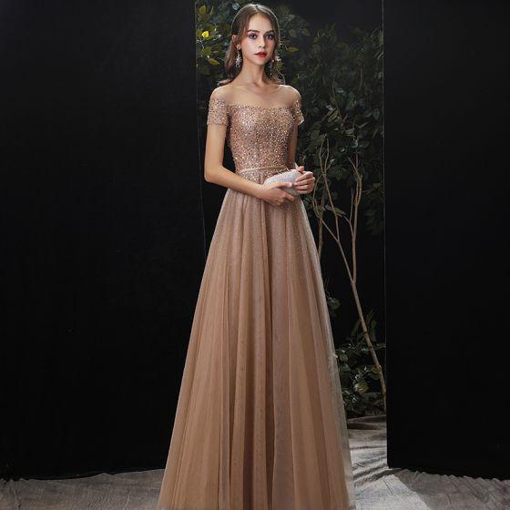 Charming Gold Evening Dresses  2020 A-Line / Princess Scoop Neck Beading Sequins Sash Short Sleeve Floor-Length / Long Formal Dresses