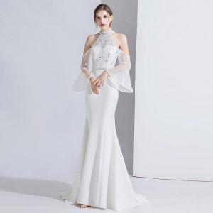 Mode Weiß Abendkleider 2020 Meerjungfrau Perlenstickerei Strass Pailletten Spitze Blumen Stehkragen Glockenhülsen Sweep / Pinsel Zug Festliche Kleider