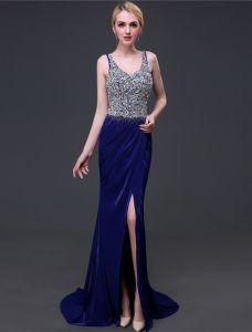 Sparkly Evening Dresses 2016 Mermaid V-neck Sleeves Beading Sequins Rhinestones Split Front Long Dress