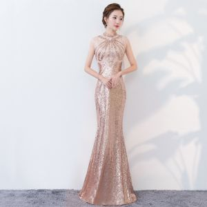 Sparkly Bling Bling Gold Floor-Length / Long Evening Dresses  2018 Trumpet / Mermaid High Neck Beading Rhinestone Sequins Evening Party Formal Dresses