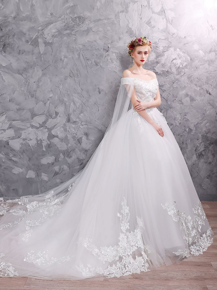 Elegant White Wedding Dresses 2019 Ball Gown Off-The-Shoulder Lace Flower Appliques Pearl Sequins Short Sleeve Backless Chapel Train