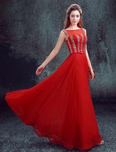 2016 Élégant Décolleté Sequins Carrés Robe De Soirée Rouge