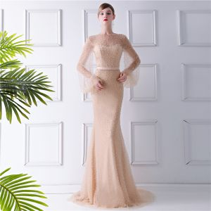 Luxus / Herrlich Champagner Durchsichtige Abendkleider 2019 Meerjungfrau Rundhalsausschnitt Geschwollenes Lange Ärmel Perlenstickerei Perle Sweep / Pinsel Zug Rüschen Festliche Kleider