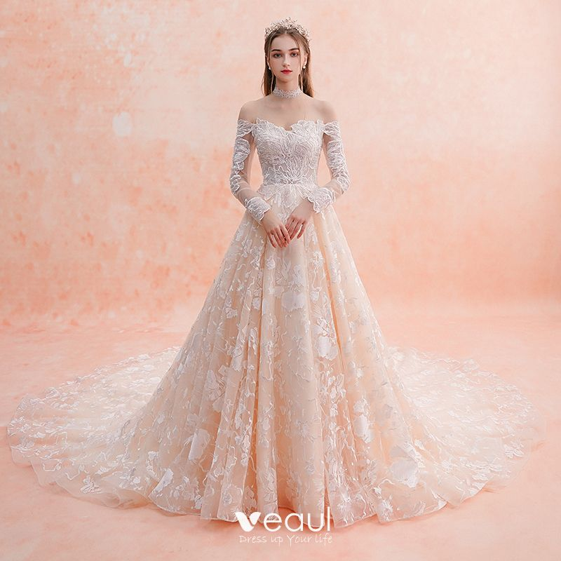 Elegant Champagne Wedding Dresses 2019 A Line Princess Off The Shoulder Long Sleeve Backless Pierced Appliques Lace Beading Cathedral Train Ruffle