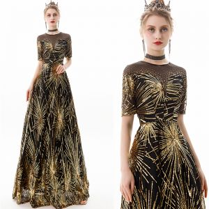 Chic / Beautiful Black Gold Evening Dresses  2019 A-Line / Princess Scoop Neck Sequins Rhinestone Short Sleeve Floor-Length / Long Formal Dresses