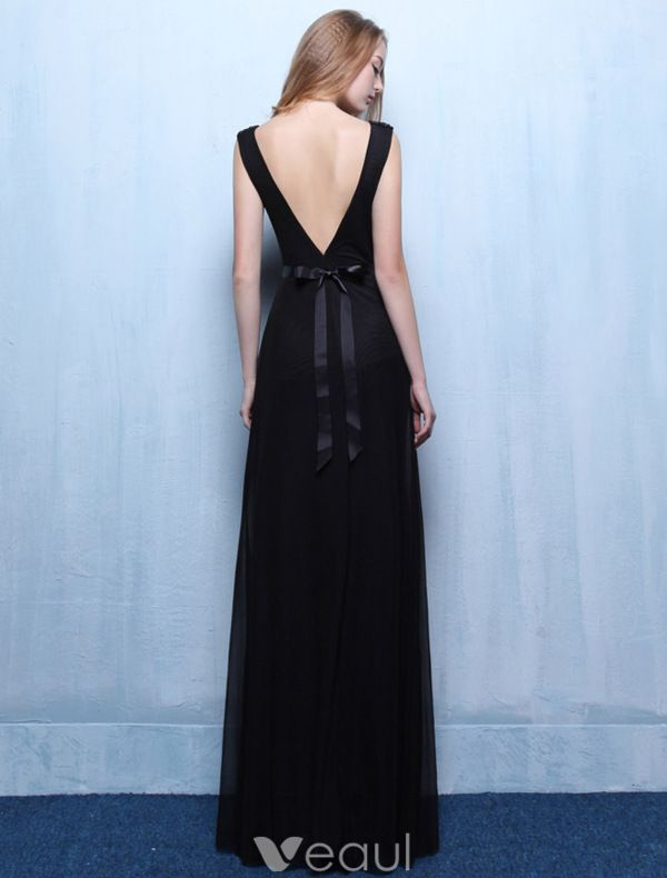 Robes De Soirée Sexy 2016 Une Ligne À Faible Dos Nu V Robe De Mousseline À Volants Noir Avec Des Perles