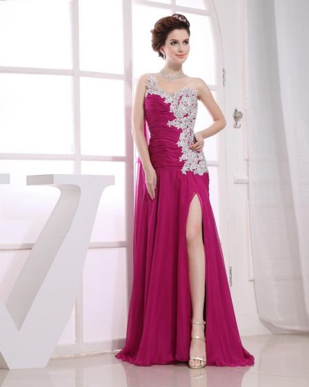 Chiffon Beading Slopping Ruffle Sleeveless Zipper Floor Length Pleated Slit Prom Dress