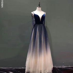 Sexy Royal Blue Gradient-Color Evening Dresses  2020 A-Line / Princess Spaghetti Straps Deep V-Neck Sleeveless Beading Tassel Glitter Tulle Floor-Length / Long Ruffle Backless Formal Dresses
