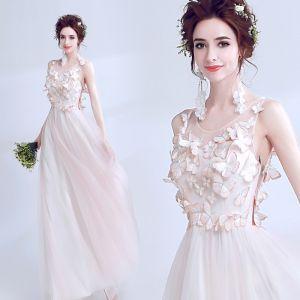 Moderne / Mode Rougissant Rose Transparentes Été Robe De Soirée 2018 Princesse Encolure Dégagée Sans Manches Appliques Papillon Longue Volants Robe De Ceremonie