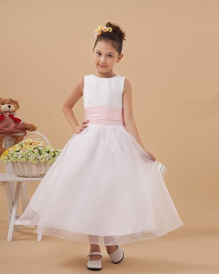 Beautiful Satin Organza Handmade Flower Girl Dresses