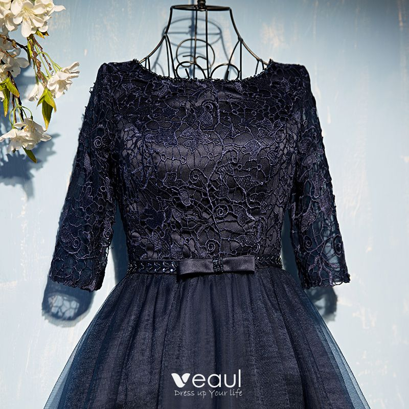 Chic / Beautiful Navy Blue Formal Dresses Evening Dresses  2017 Lace Flower Bow Sequins Scoop Neck 1/2 Sleeves Short A-Line / Princess