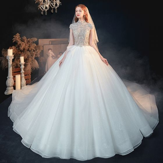 Vintage / Retro White See-through Bridal Wedding Dresses 2020 Ball Gown High Neck Short Sleeve Backless Beading Glitter Tulle Cathedral Train Ruffle