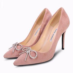 Mooie / Prachtige Blozen Roze Gala Pumps 2018 Rhinestone Strik Suede 10 cm Naaldhakken / Stiletto Spitse Neus Pumps