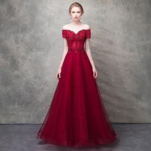 Piękne Burgund Sukienki Wieczorowe 2017 Princessa Z Koronki Kwiat Kryształ Frezowanie Przy Ramieniu Bez Pleców Kótkie Rękawy Długość Kostki Sukienki Wizytowe