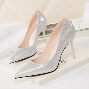 Chic / Beautiful Silver Evening Party Pumps 2018 Patent Leather 9 cm Stiletto Heels Pointed Toe Pumps