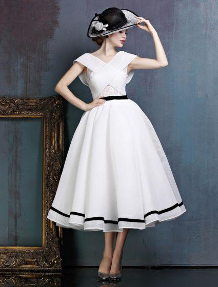 Millésime Simple Robe De Bal Blanc V-cou Backless Robe De Soirée Avec Un Noeud Guillotine