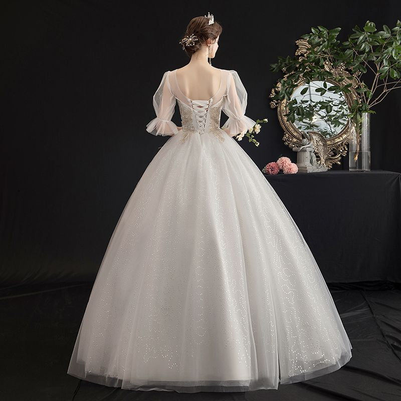 Victorian Style Affordable Ivory See-through Wedding Dresses 2019 A-Line / Princess Scoop Neck Puffy 1/2 Sleeves Backless Appliques Lace Glitter Tulle Floor-Length / Long Ruffle
