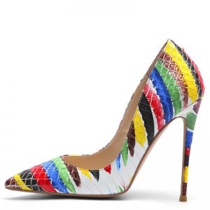 Fashion Multi-Colors Street Wear Striped Doodle Pumps 2020 12 cm Stiletto Heels Pointed Toe Pumps